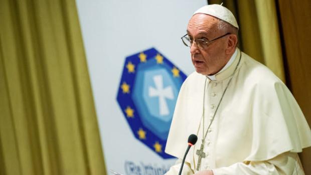 28 octobre 2017 : Discours du pape François, lors de la rencontre « Repenser l'Europe » – «Re Thinking Europe», organisée par le Saint-Siège et la Commission des épiscopats de la Communauté européenne (Comece). Salle du synode au Vatican.