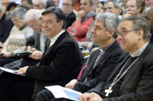 """13 janvier 2018 : Prêtres et conseils paroissiaux du diocèse de Paris se sont réunis autour du thème """"Réfugiés-Solidarité au coeur des paroisses"""". Présence de Mgr Michel AUPETIT, archevêque de Paris."""