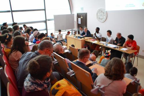 Un débat sur les migrants aux JMJ de Cracovie en 2016.