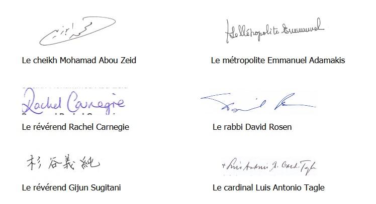 signatures-déclaration-interconfessionnelle-migrants