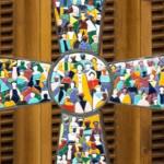 15 février 2017 : Mosaïque de l'Humanité , oeuvre de l'artiste Roberto JOPPOLO présentée lors de l'audience hebdomadaire, dans la salle Paul VI au Vatican.