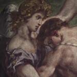 Peinture à l'encaustique représentant la lutte de Jacob et de l'Ange, oeuvre d'Eugène Delacroix. Eglise Saint-Sulpice à Paris.
