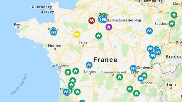 Carte des accueils via les Couloirs humanitaires (juin 2019).