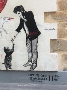 """Expression idiomatique française : """"Donner sa langue au chat""""."""