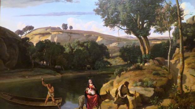 Camille Corot, Fuite en Égypte. Musée de l'Hôtel-Dieu à Mantes-la-Jolie.